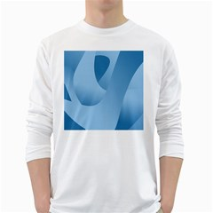 Abstract Blue Background Swirls White Long Sleeve T Shirts