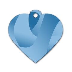 Abstract Blue Background Swirls Dog Tag Heart (one Side)
