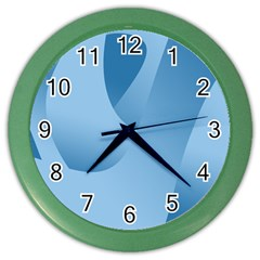 Abstract Blue Background Swirls Color Wall Clocks