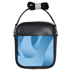 Abstract Blue Background Swirls Girls Sling Bags