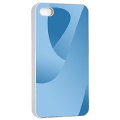 Abstract Blue Background Swirls Apple iPhone 4/4s Seamless Case (White)