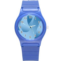 Abstract Blue Background Swirls Round Plastic Sport Watch (S)