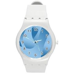 Abstract Blue Background Swirls Round Plastic Sport Watch (m)