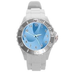Abstract Blue Background Swirls Round Plastic Sport Watch (L)