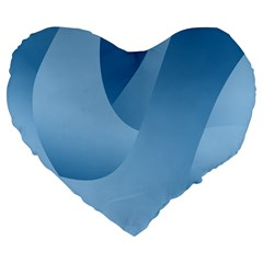 Abstract Blue Background Swirls Large 19  Premium Heart Shape Cushions