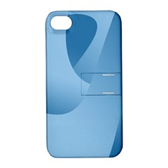 Abstract Blue Background Swirls Apple Iphone 4/4s Hardshell Case With Stand