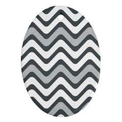 Shades Of Grey And White Wavy Lines Background Wallpaper Ornament (oval)