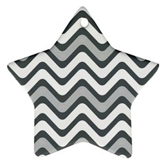Shades Of Grey And White Wavy Lines Background Wallpaper Ornament (star)