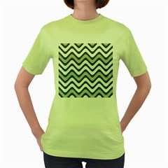 Shades Of Grey And White Wavy Lines Background Wallpaper Women s Green T Shirt