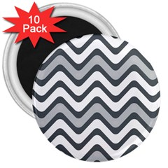 Shades Of Grey And White Wavy Lines Background Wallpaper 3  Magnets (10 pack)