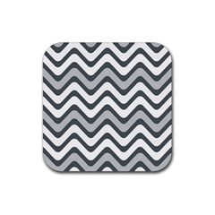 Shades Of Grey And White Wavy Lines Background Wallpaper Rubber Square Coaster (4 Pack)