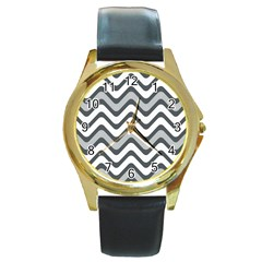 Shades Of Grey And White Wavy Lines Background Wallpaper Round Gold Metal Watch