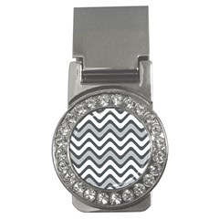 Shades Of Grey And White Wavy Lines Background Wallpaper Money Clips (CZ)