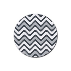 Shades Of Grey And White Wavy Lines Background Wallpaper Rubber Round Coaster (4 pack)