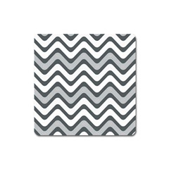 Shades Of Grey And White Wavy Lines Background Wallpaper Square Magnet