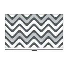 Shades Of Grey And White Wavy Lines Background Wallpaper Business Card Holders