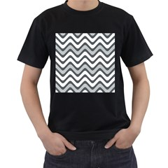 Shades Of Grey And White Wavy Lines Background Wallpaper Men s T Shirt (black) (two Sided)