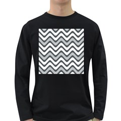 Shades Of Grey And White Wavy Lines Background Wallpaper Long Sleeve Dark T Shirts