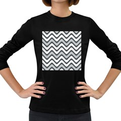 Shades Of Grey And White Wavy Lines Background Wallpaper Women s Long Sleeve Dark T-Shirts