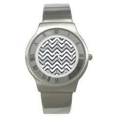 Shades Of Grey And White Wavy Lines Background Wallpaper Stainless Steel Watch