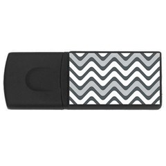 Shades Of Grey And White Wavy Lines Background Wallpaper USB Flash Drive Rectangular (4 GB)