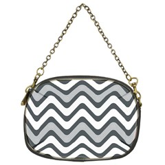Shades Of Grey And White Wavy Lines Background Wallpaper Chain Purses (two Sides)