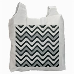 Shades Of Grey And White Wavy Lines Background Wallpaper Recycle Bag (two Side)