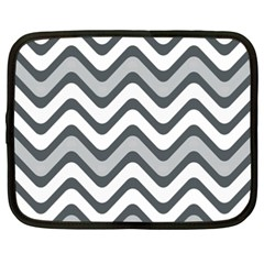 Shades Of Grey And White Wavy Lines Background Wallpaper Netbook Case (xxl)