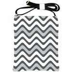 Shades Of Grey And White Wavy Lines Background Wallpaper Shoulder Sling Bags Front