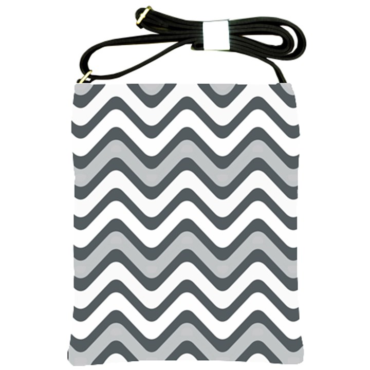 Shades Of Grey And White Wavy Lines Background Wallpaper Shoulder Sling Bags