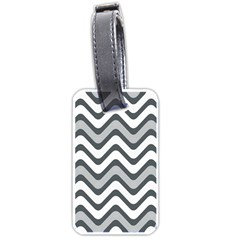 Shades Of Grey And White Wavy Lines Background Wallpaper Luggage Tags (Two Sides)