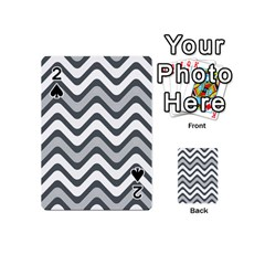Shades Of Grey And White Wavy Lines Background Wallpaper Playing Cards 54 (Mini)