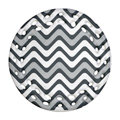 Shades Of Grey And White Wavy Lines Background Wallpaper Ornament (Round Filigree)