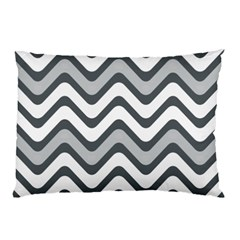 Shades Of Grey And White Wavy Lines Background Wallpaper Pillow Case (two Sides)
