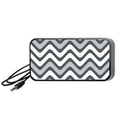 Shades Of Grey And White Wavy Lines Background Wallpaper Portable Speaker (Black)
