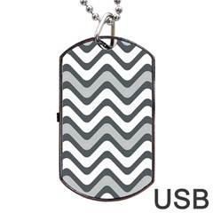 Shades Of Grey And White Wavy Lines Background Wallpaper Dog Tag Usb Flash (one Side)