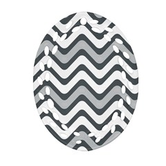 Shades Of Grey And White Wavy Lines Background Wallpaper Oval Filigree Ornament (Two Sides)