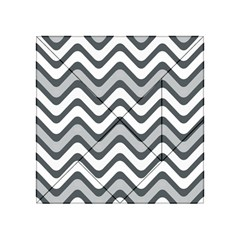 Shades Of Grey And White Wavy Lines Background Wallpaper Acrylic Tangram Puzzle (4  X 4 )