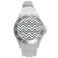 Shades Of Grey And White Wavy Lines Background Wallpaper Round Plastic Sport Watch (L)