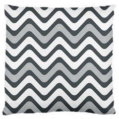Shades Of Grey And White Wavy Lines Background Wallpaper Large Cushion Case (One Side)