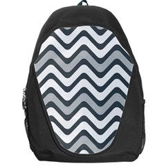 Shades Of Grey And White Wavy Lines Background Wallpaper Backpack Bag
