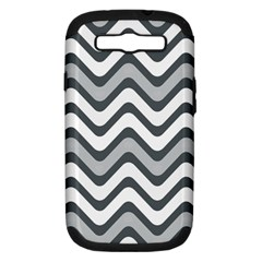 Shades Of Grey And White Wavy Lines Background Wallpaper Samsung Galaxy S III Hardshell Case (PC+Silicone)