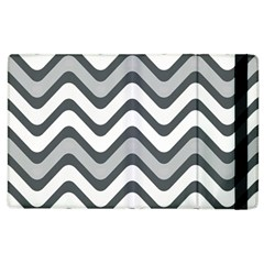 Shades Of Grey And White Wavy Lines Background Wallpaper Apple iPad 3/4 Flip Case