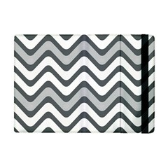 Shades Of Grey And White Wavy Lines Background Wallpaper Apple Ipad Mini Flip Case
