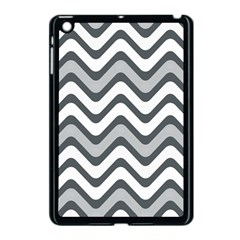 Shades Of Grey And White Wavy Lines Background Wallpaper Apple iPad Mini Case (Black)