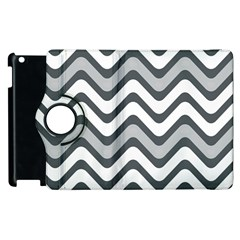 Shades Of Grey And White Wavy Lines Background Wallpaper Apple iPad 2 Flip 360 Case
