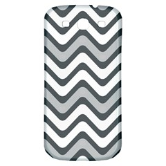 Shades Of Grey And White Wavy Lines Background Wallpaper Samsung Galaxy S3 S III Classic Hardshell Back Case