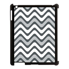 Shades Of Grey And White Wavy Lines Background Wallpaper Apple iPad 3/4 Case (Black)
