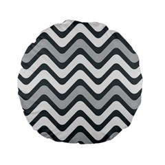 Shades Of Grey And White Wavy Lines Background Wallpaper Standard 15  Premium Round Cushions