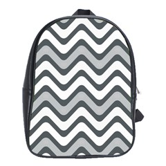Shades Of Grey And White Wavy Lines Background Wallpaper School Bags (xl)